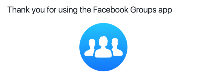 Facebook group app screnn shot