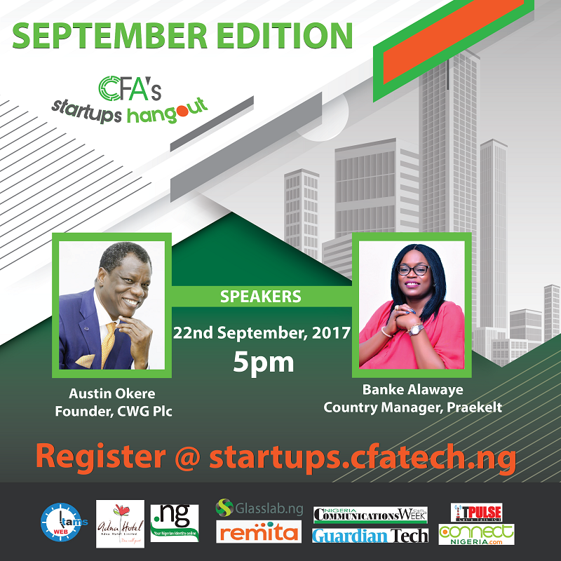 Join Austin okere as He Speaks at CFA's Startups Hangout Today