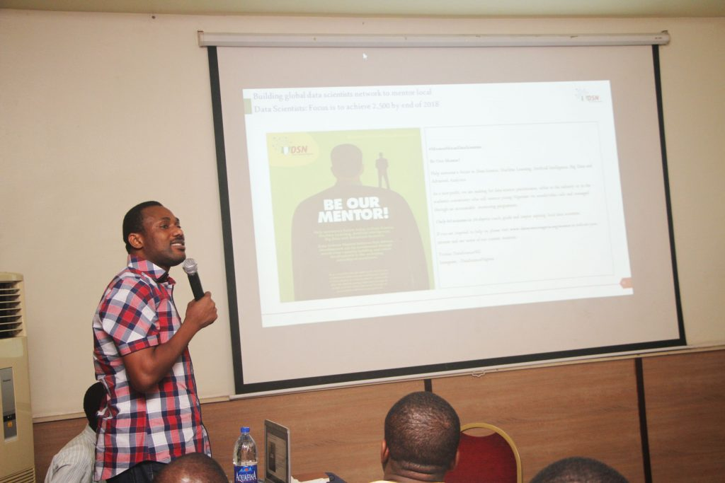 Mr Bayo Adekanmbi, Convener, Data Science Nigeria speaking on the DSN Mentoring programme