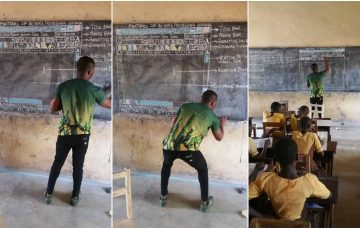 Update: Remember the Ghana's Teacher That Drew Microsoft Word on a Blackboard? He Now Has a New classroom