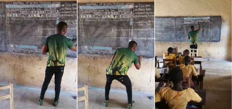 Update: Remember the Ghana's Teacher That Drew Microsoft Word on a Blackboard? He Now Has a New classroom