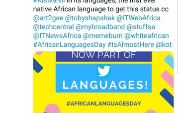 Swahili Becomes First African Language Recognized by Twitter