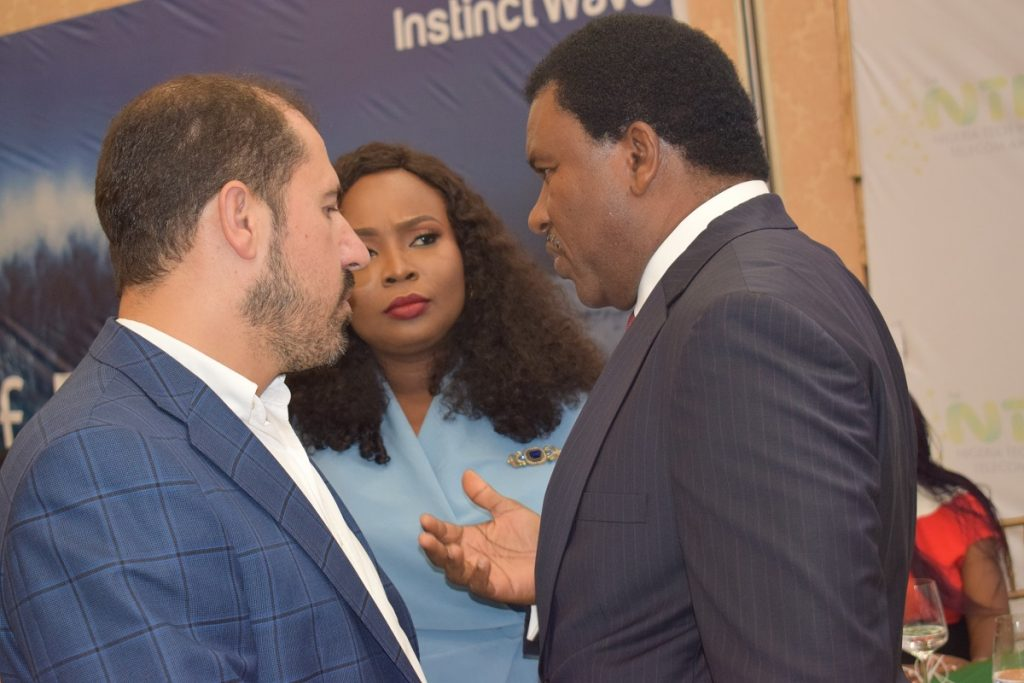 (L-r): MD/CEO, MTN Nigeria, Ferdi Moolman; Chinenye Onuoha -Areola and Executive Director, Business Development, (BBC), Mr Chidi Ibisi, at the NTITA 2018 ceremony.