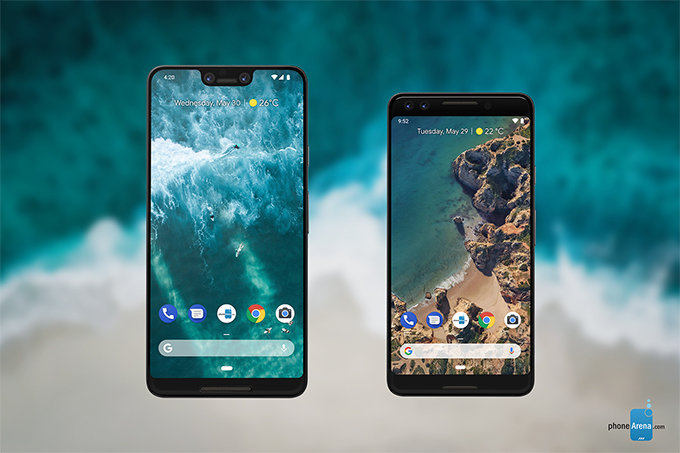 The new Google flagship smartphones, Pixel 3 XL (left) and Pixel 3 (right)