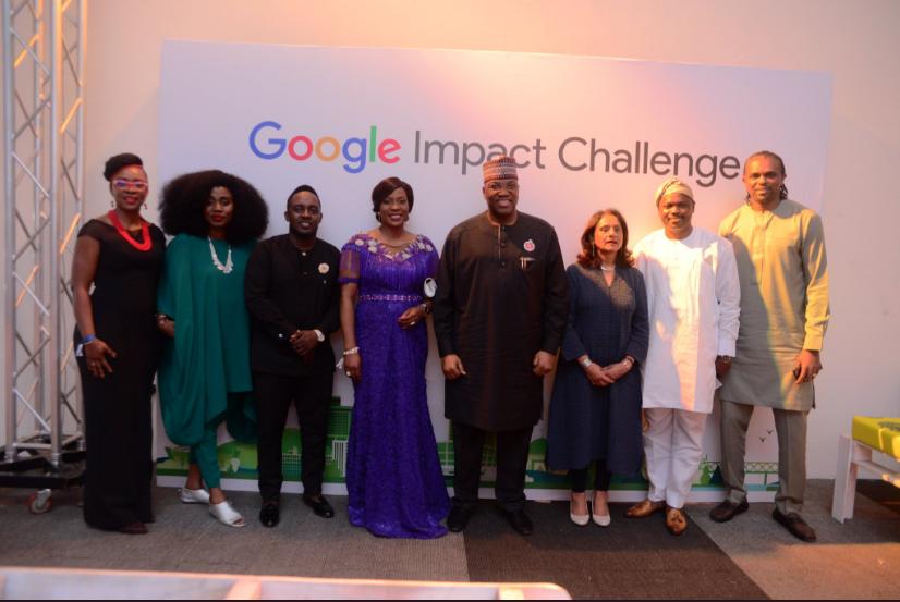 A cross section of the panel of judges at the event - MI Abaga, Kanu Nwankwo, Oluseyi Oyebisi, Mo Abudu, Eghosa Omoigu, Juliet Ehimuan-Chiazor, Parminder Vir and John Momoh