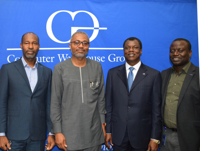 L-R: Mr. Philip Obioha, COO, CWG Plc; Mr. Emeka Mba, DG, NBC; Mr. Austin Okere, Founder and CEO, CWG Plc and Mr. Gbenga Odegbami, Head, Presales, CWG Plc when MR. Mba visited CWG's corporate headquarters in Lagos.