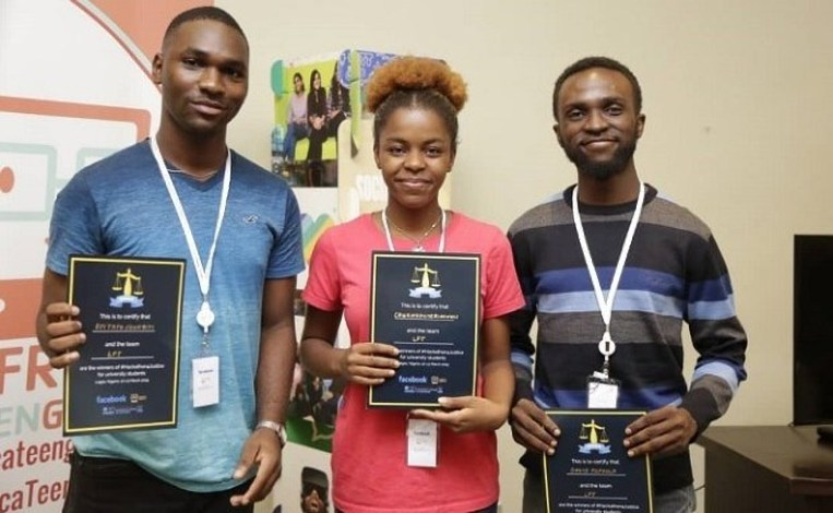 Winners of the Hackathon4Justice Competition. Photo: Technext.ng
