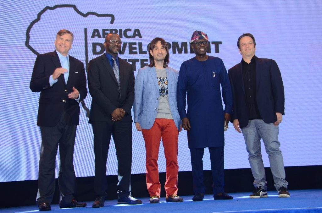 L-R: United States Ambassador to Nigeria, W. Stuart Symington; Country Manager, Microsoft Nigeria & Ghana, Akin Banuso; Technical Fellow, AI & Mixed Reality, Microsoft, Alex Kipman; Lagos State Governor-elect, Mr. Babajide Sanwo-Olu; Executive Vice President, Gaming, Microsoft, Phil Spencer. .....At the Microsoft Africa Development Center (ADC) Launch in Lagos on May 17 2019