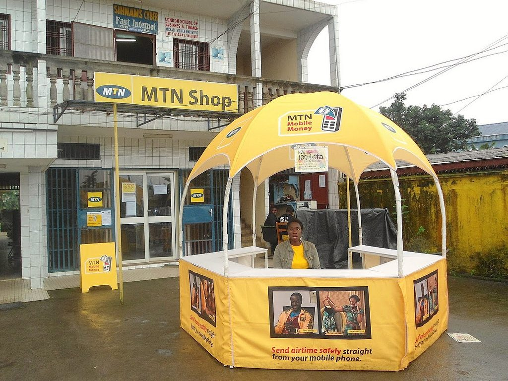 An MTN mobile money stand