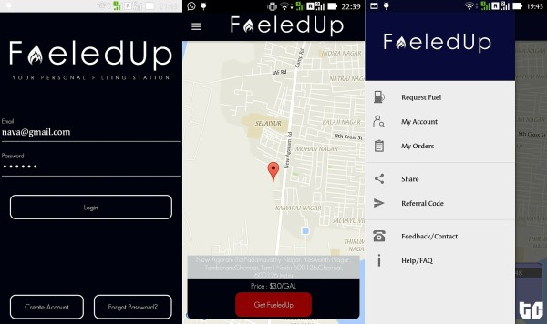screenshot of the fueledUp app