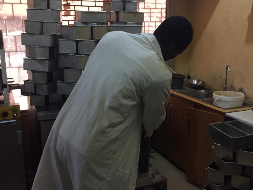 A baker, Emmanuel at the Sura Shopping Complex