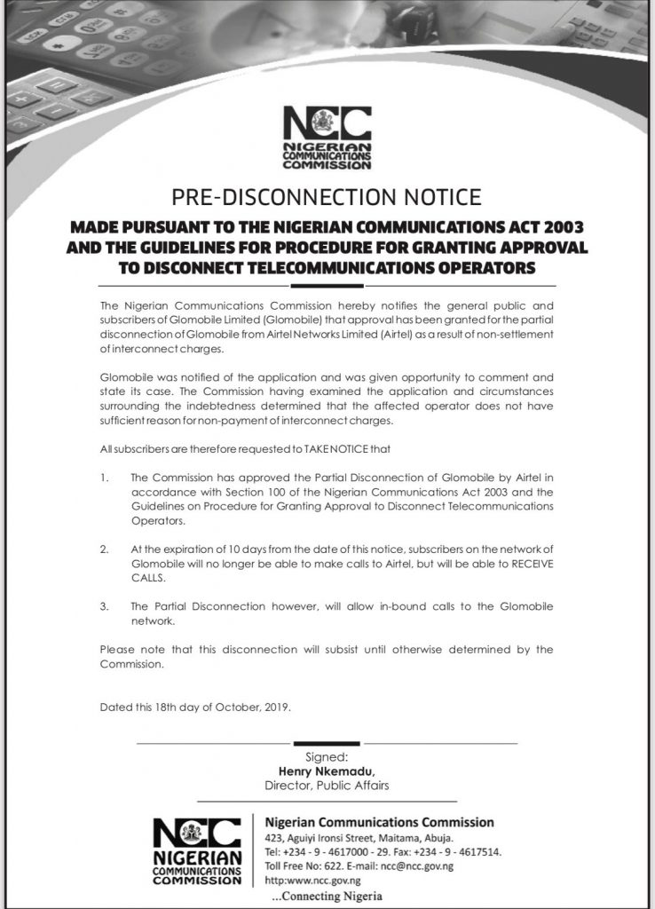 The Notice released by the Nigerian Communications Commission