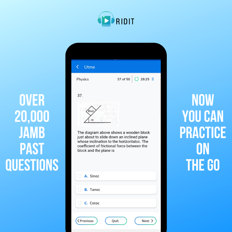 Ridit helps students with exams