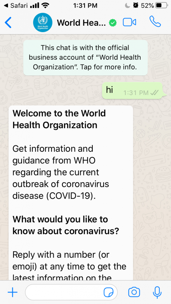 WHO Creates WhatsApp Chatbot to Fight Misinformation Amid Coronavirus Pandemic