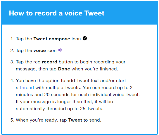 Voice Tweet: Users can now tweet with audio recordings