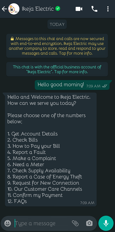 How to Make Complaints and Request for Meter with Ikeja Electric WhatsApp Bot