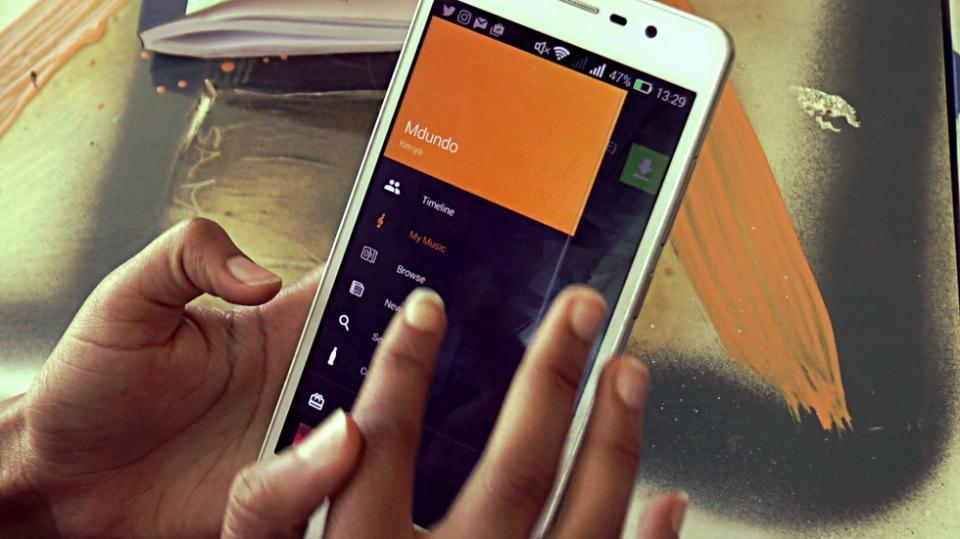 Mdundo app's user interface