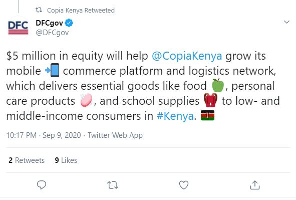 U.S. Development Finance Corporation on twitter.