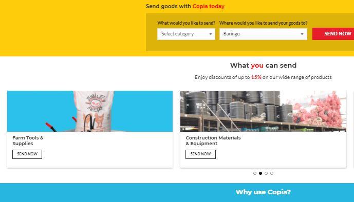 Copia app's user interface