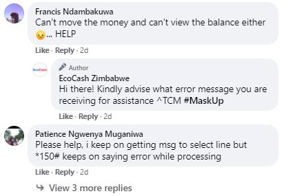 EcoCash Users complain about service network on Facebook