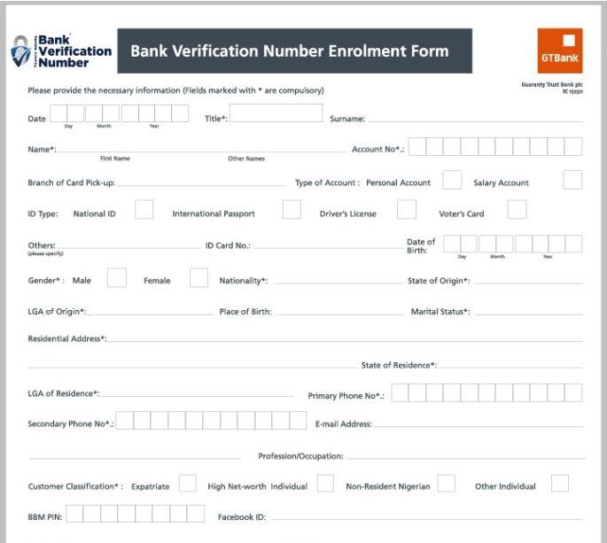 Screenshot of Zenith Bank BVN enrolment form