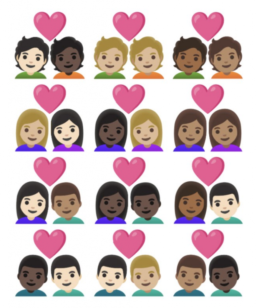 Skin tone variations of pre-existing couple emojis
