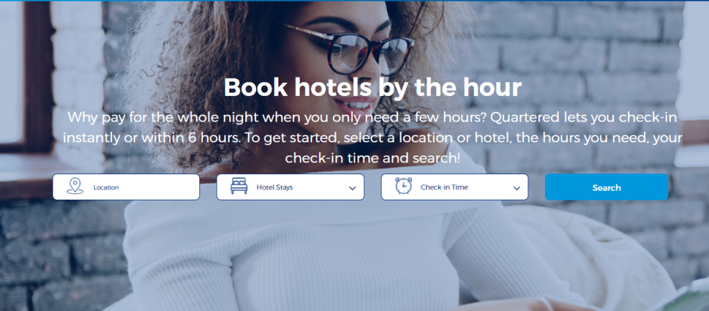 Quartered's hotel booking page