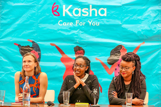 Joanna Bichsel, Kasha CEO and Founder with other Executives at an event.