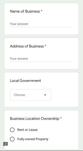Screenshot of Kwara state SME grant application form