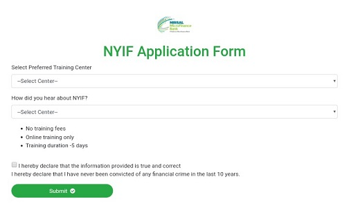 Screenshot of Nigeria Youth Investment Fund Portal