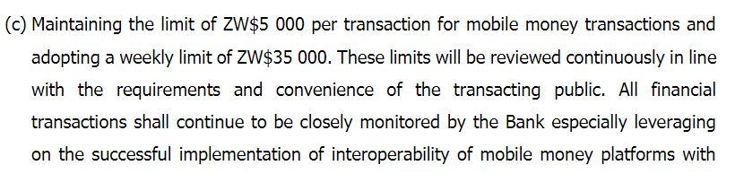 Screenshot of RBZ Monetary Policy statement