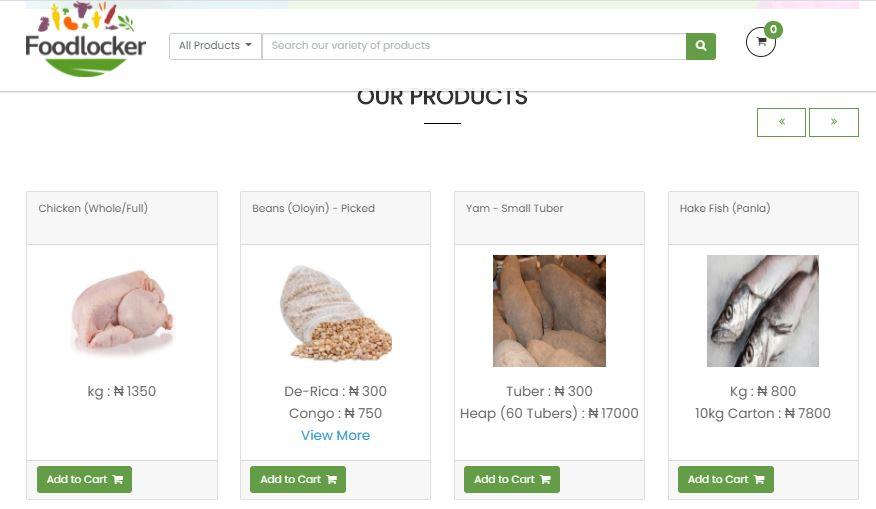 Screenshot of foodlocker app