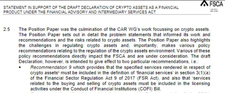 Screenshot FSCA crypto draft