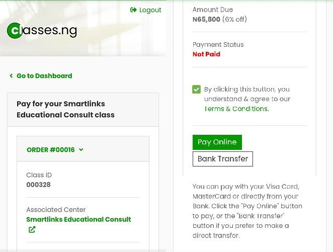 Screenshot of Classes.ng website