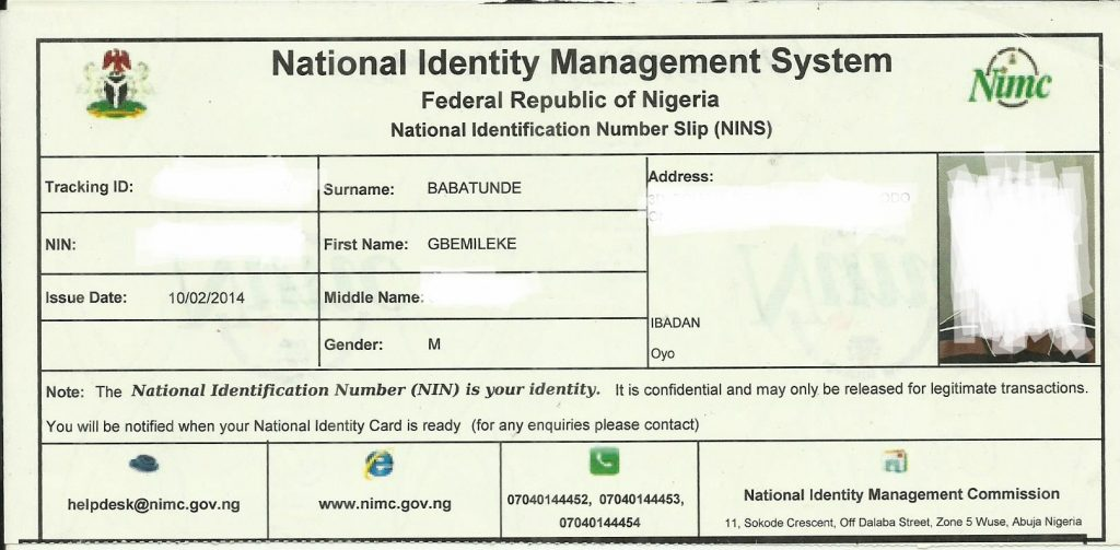 National ID slip