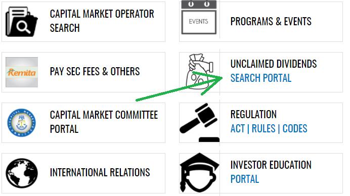 Screenshot of SEC website