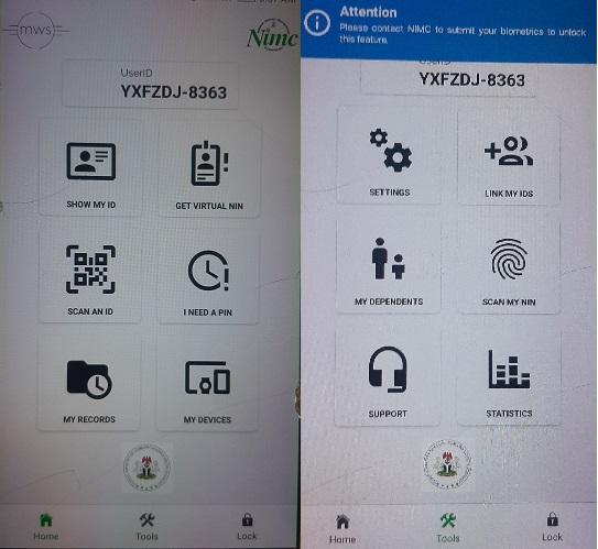 Screenshot of NIMC mobile app