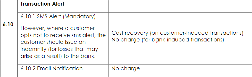 Screenshot of CBN guide to bank charges