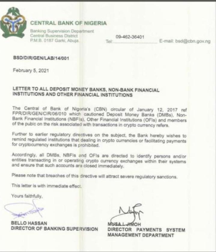 CBN Crypto ban circular, February 5, 2021