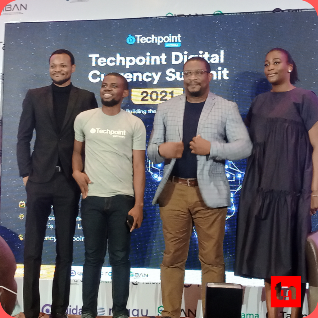 L-R, Senator Ihenyen, President SIBAN, Emmanuel Paul, Senior Writer, Techpoint Africa; Chimezie Chuta, Founder Bitcoin Nigeria User Group, and Ina Arome, Head of Fintech Practices at Aluko & Oyebode