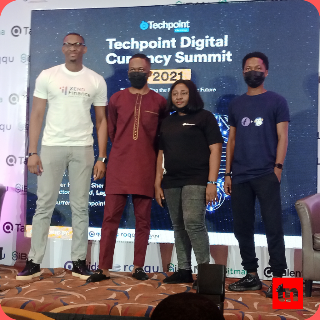 L-R, Ugochukwu Aronu, the CEO of Xend Finance; Tage Kene-okafor Writer Techcrunch; Ruth Iselema, CEO of Bitmama and Ben Elua CEO of Blueloop