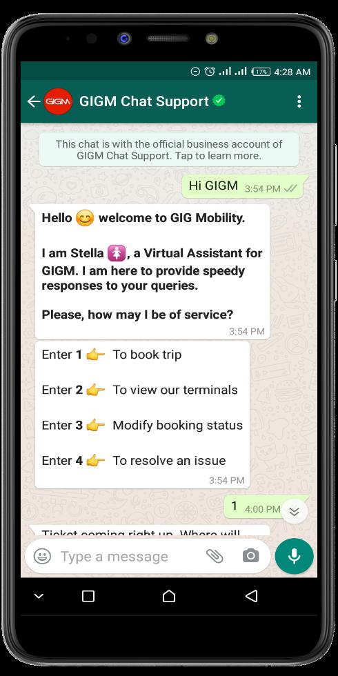 GIGM Stella via WhatsApp