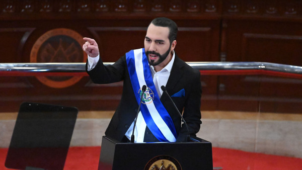 Salvadoran President Nayib Bukele delivers his annual address to the nation marking his second year in office at the Legislative Assembly in San Salvador on June 1, 2021. (Photo by MARVIN RECINOS / AFP) (Photo by MARVIN RECINOS/AFP via Getty Images)