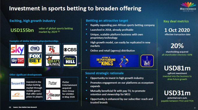Multichoice makes $281.5M offer to increase stake in BetKing to 45%