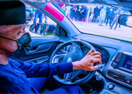 Nigerians react as Vice President Yemi Osinbajo test drives locally assembled electric car