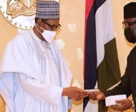 Breaking: first made in Nigeria cell phone, ITF Mobile delivered to President Buhari